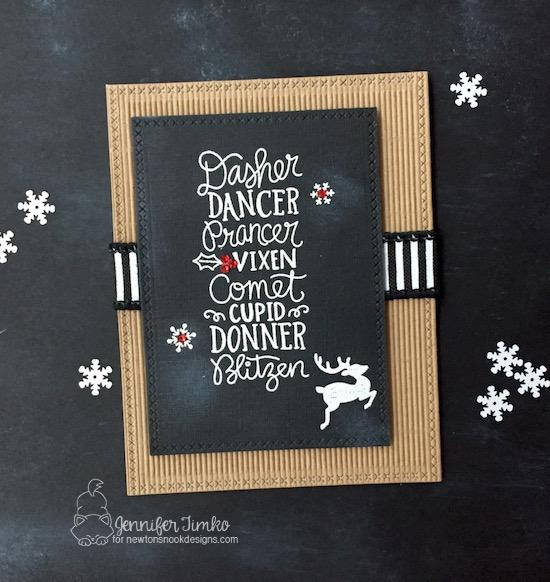 Reindeer Chalkboard Christmas Card by Jennifer Timko | Reindeer Roll Call Stamp Set by Newton's Nook Designs #newtonsnook #handmade