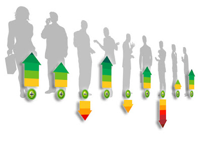 silhouettes of business people on a graph with arrows up and down