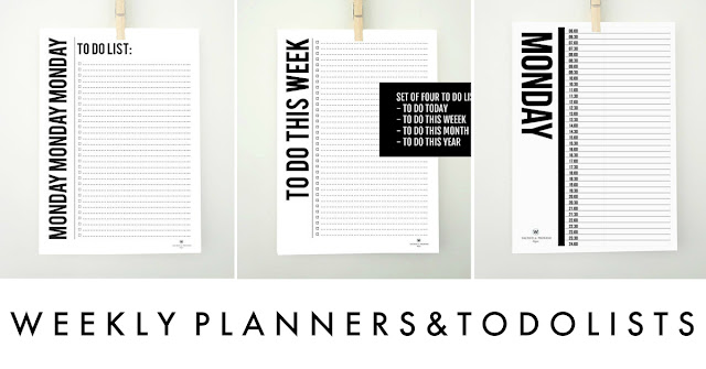 Printable weekly planners and to do lists from etsy shop Sacred and Profane Designs
