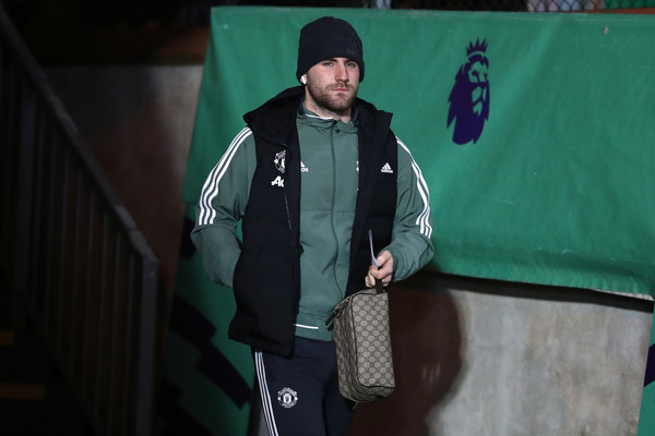 Luke Shaw of Manchester United arrives for the Premier League match between Crystal Palace and Manchester United at Selhurst Park on March 5, 2018 in London, England