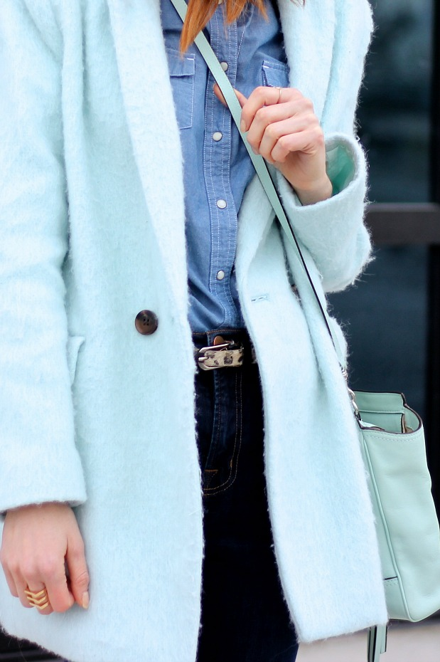 Blue Fuzzy Coat, Blue Jeans, Mint bag- January Blues
