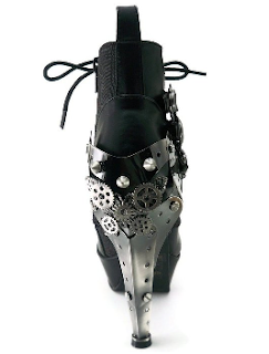 women's steampunk heels. oxford ankle boot with metal heel and gears. Made by Hades footwear.