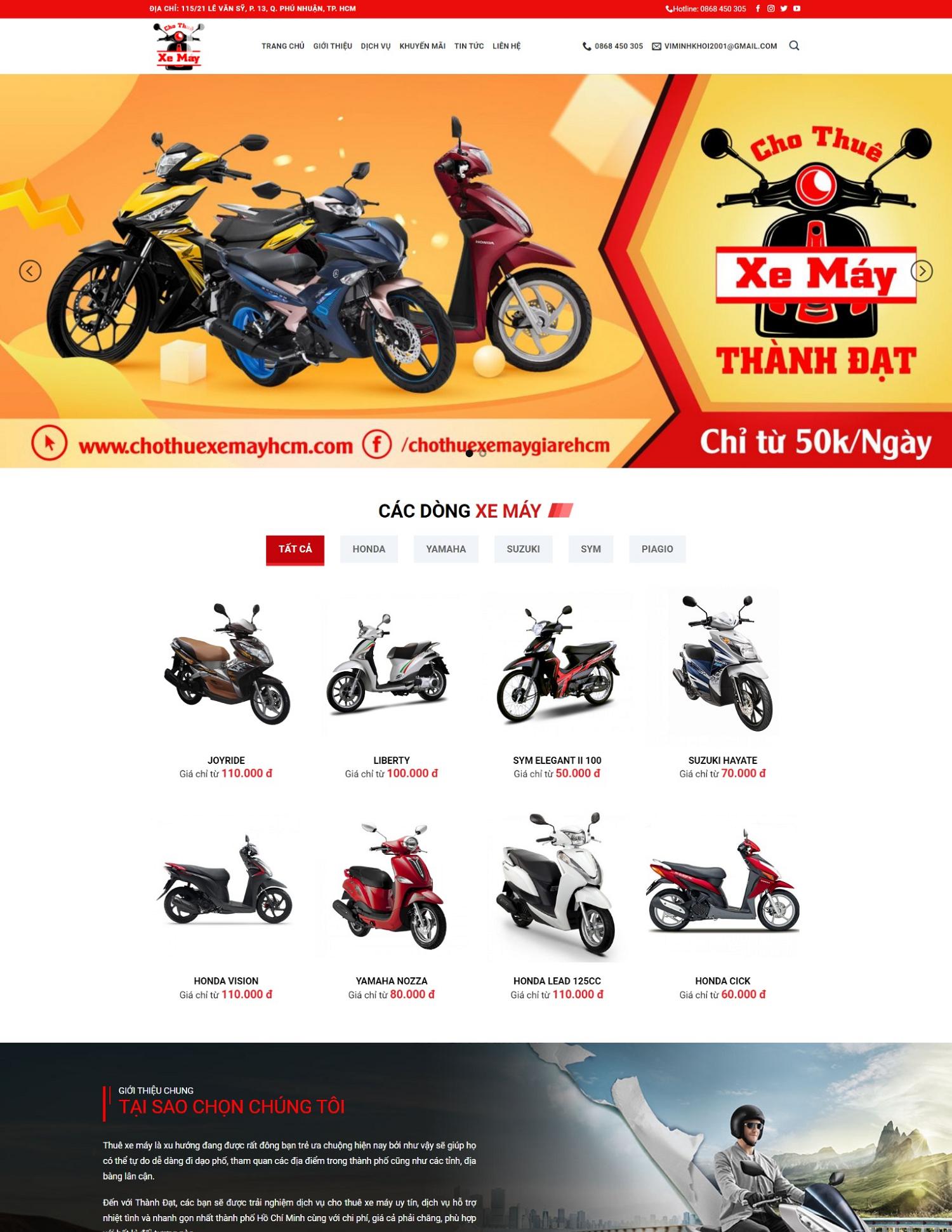Theme blogspot dịch vụ cho thuê xe máy chuẩn seo