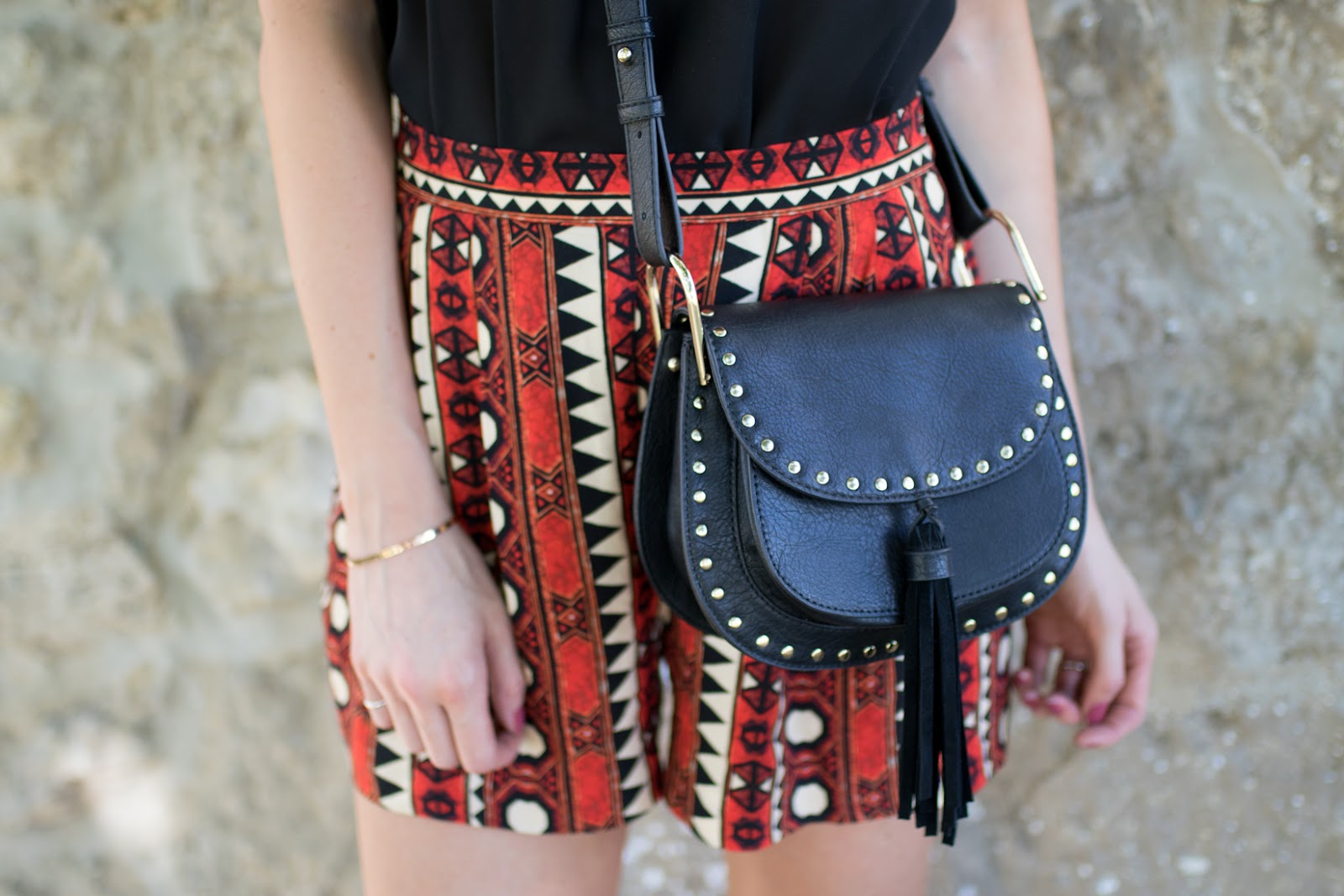 Black studded canteen bag