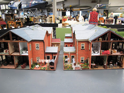 Display of two rows of miniature terrace houses