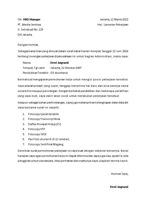 Contoh Surat Lamaran Kerja menurut iklan