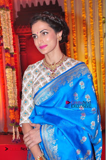 Actress Model Shilpa Reddy Exclusive Stills in Blue Saree at Vijay Karan Aashna Wedding  0039.JPG