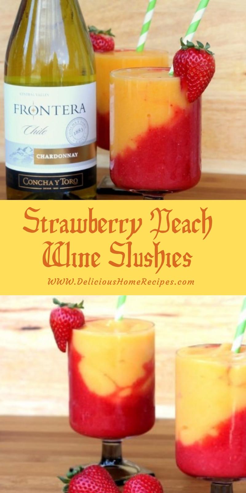 Strawberry Peach Wine Slushies #christmas #drink