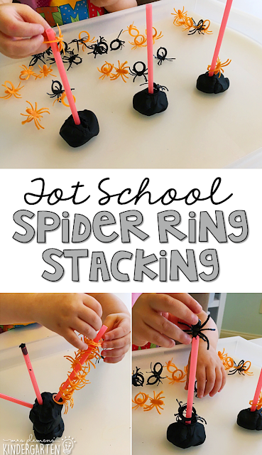 Spider ring stacking is great fine motor practice with a spooky theme. Great for tot school, preschool, or even kindergarten!