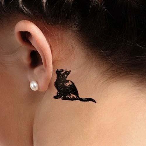 kulak arkası minik kedi dövmesi behind ear tiny cat tattoo