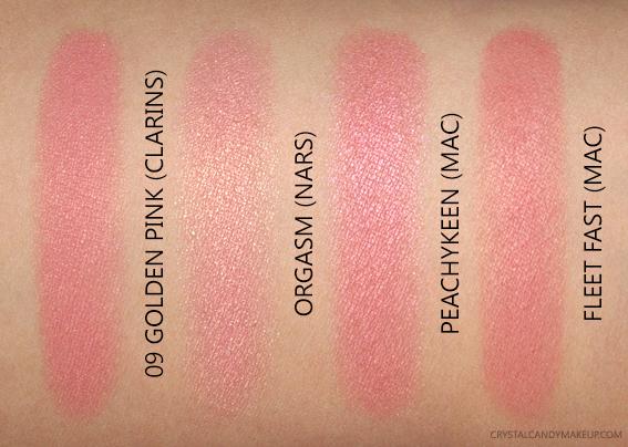 Clarins Blush Prodige 09 Golden Pink Swatches MAC Peachykeen Fleet Fast NARS Orgasm