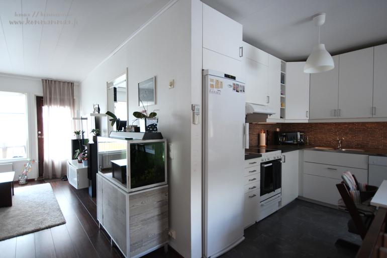 yleiskuva keittiöstä ja olohuoneesta