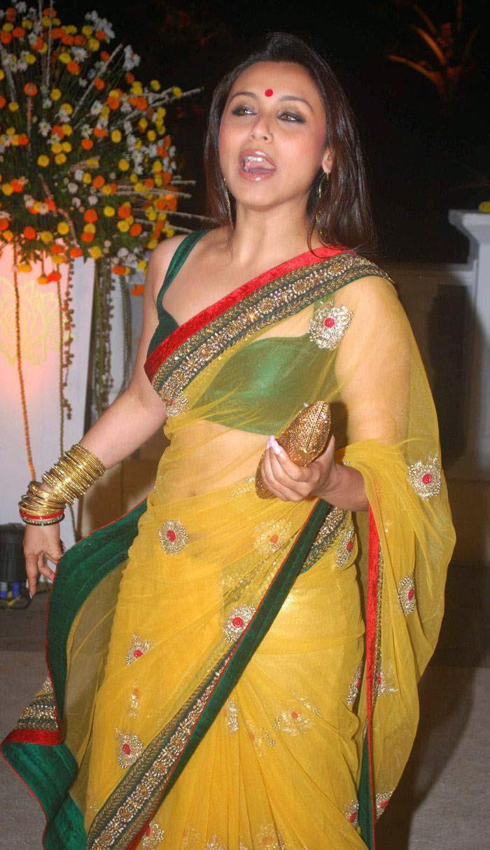 Transparent Saree: Rani Mukherjee In Yellow Transparent Saree