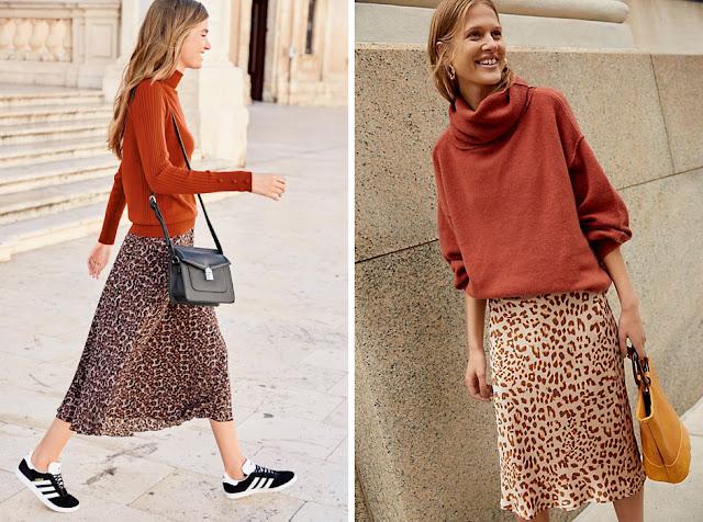 Леопардовые юбки с оранжевой водолазкой