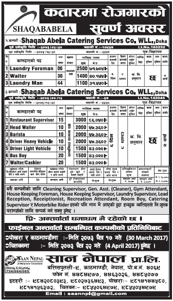 Jobs in Qatar for Nepali, Salary Rs 86,050