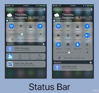 tampilan status bar xiaomi mirip iphone