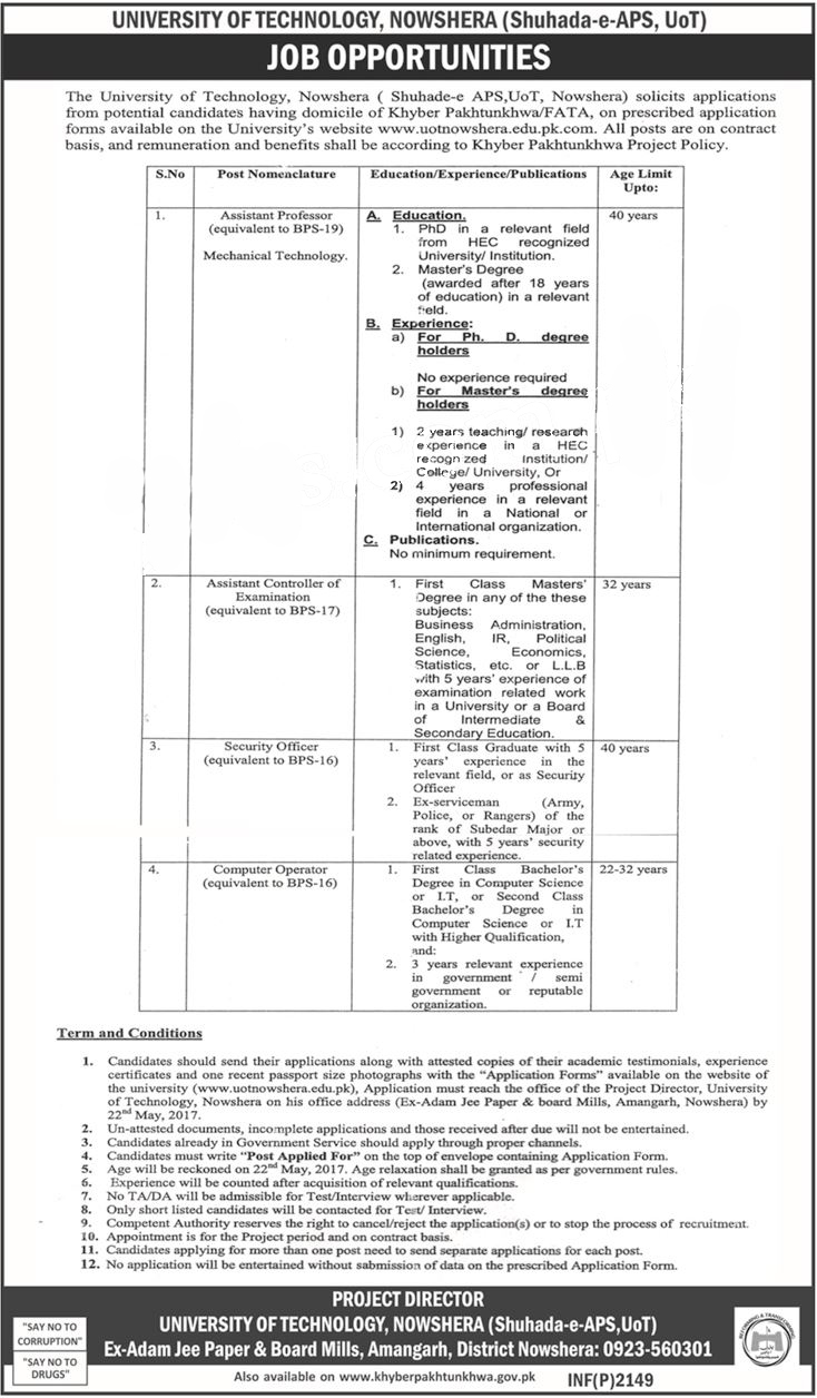 university of technology nowshera jobs 2017