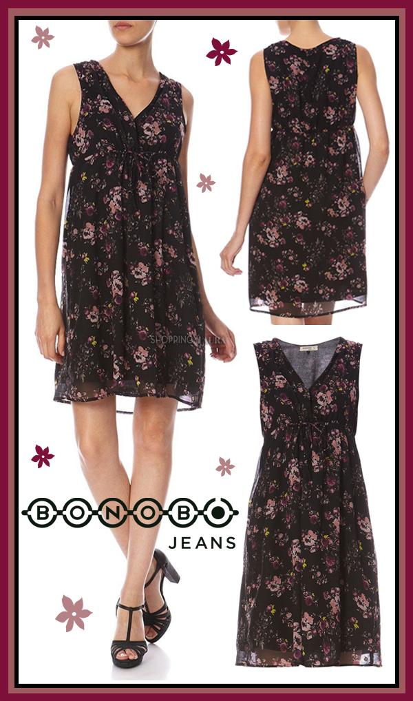 Robe courte noire, imprimé fleuri grenat, BONOBO