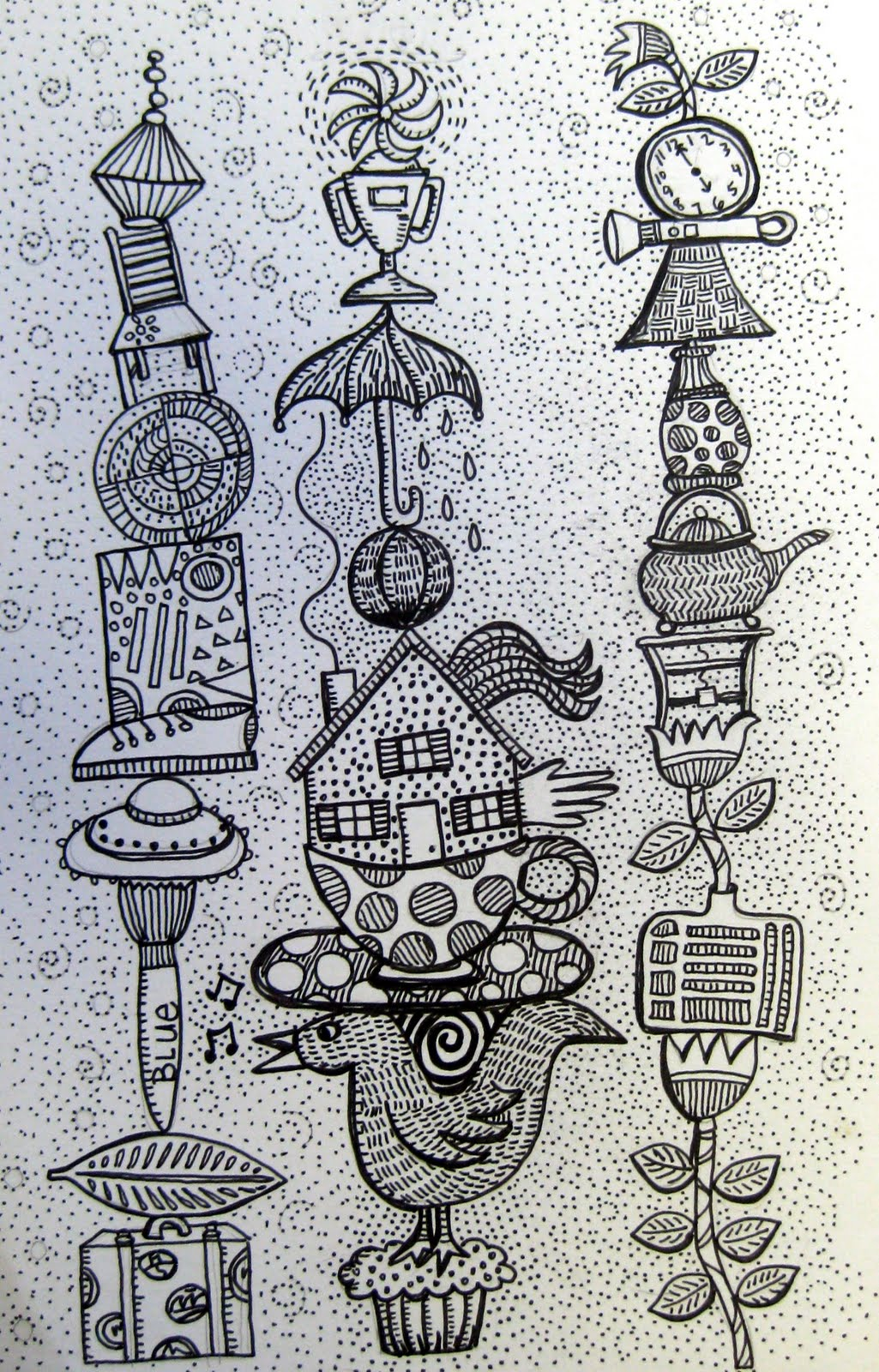 The Sketchbook Challenge Ink Drawing Of My Favorite Things Stacked