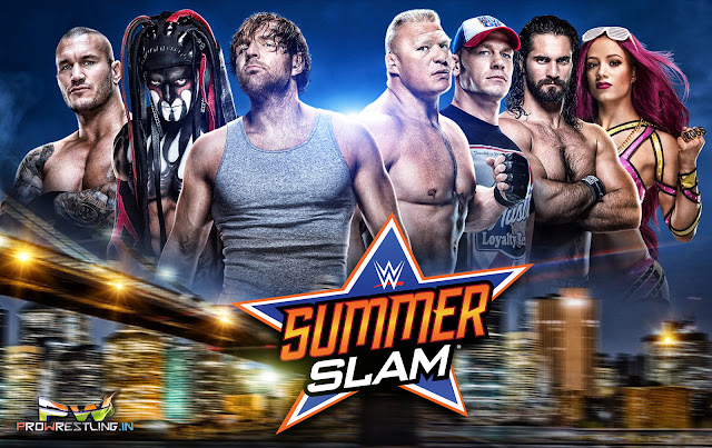 "WWE ""SummerSlam 2016"" HQ Official Wallpaper Free Download, feat randy orton, dean ambrose, john cena, seth rollins, brock lesnar, summerslam 2016 wallpaper download."