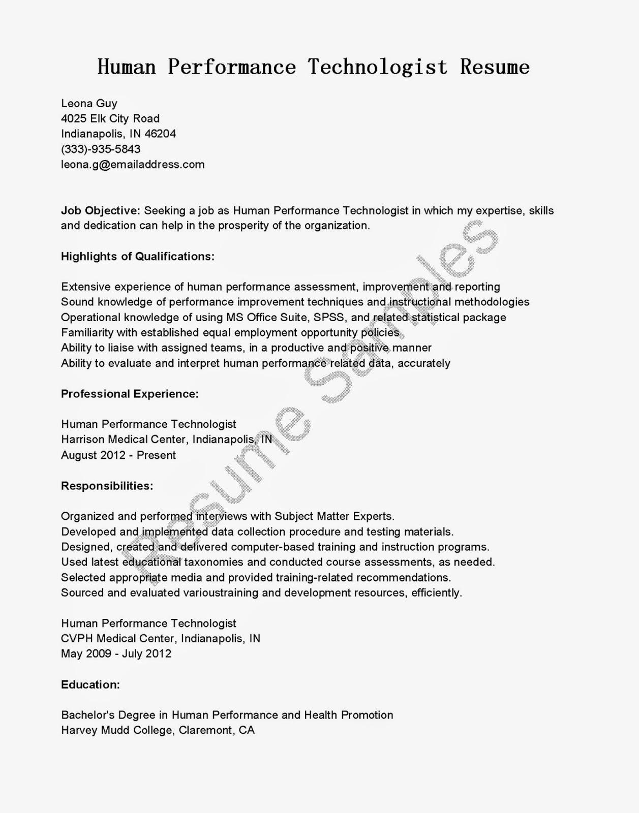 resume samples  human performance technologist resume sample