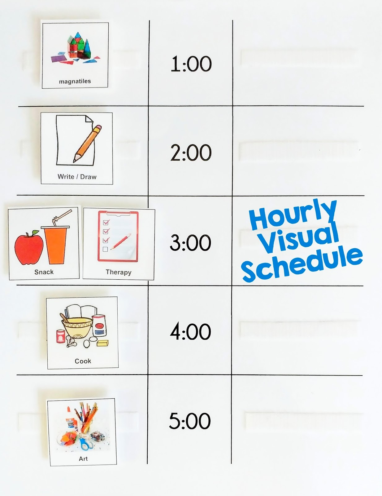 autism mommy guide hourly visual schedule
