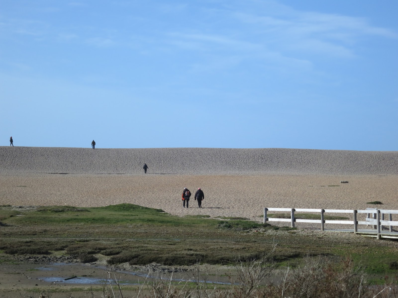 People walking up Chesil Beach from the Nature Centre. March 1st 2015.