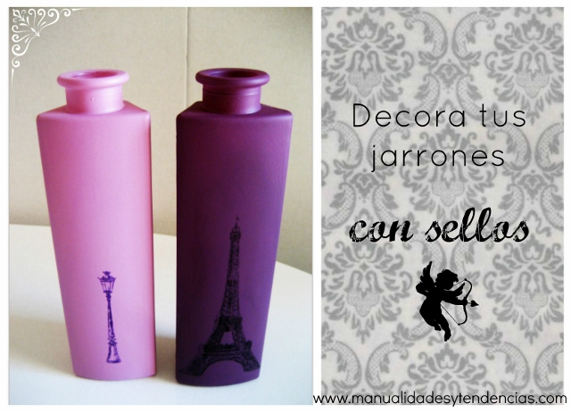 DIY Jarrones decorados con sellos y tinta stazon / How to stamp a vase