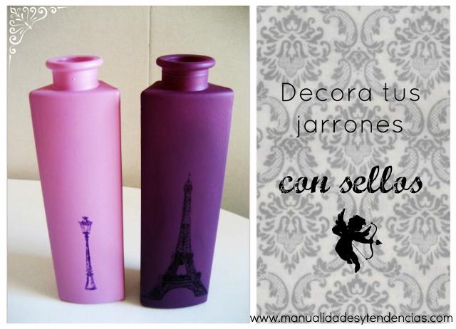 DIY Jarrones decorados con sellos y tinta stazon / How to stamp a vase