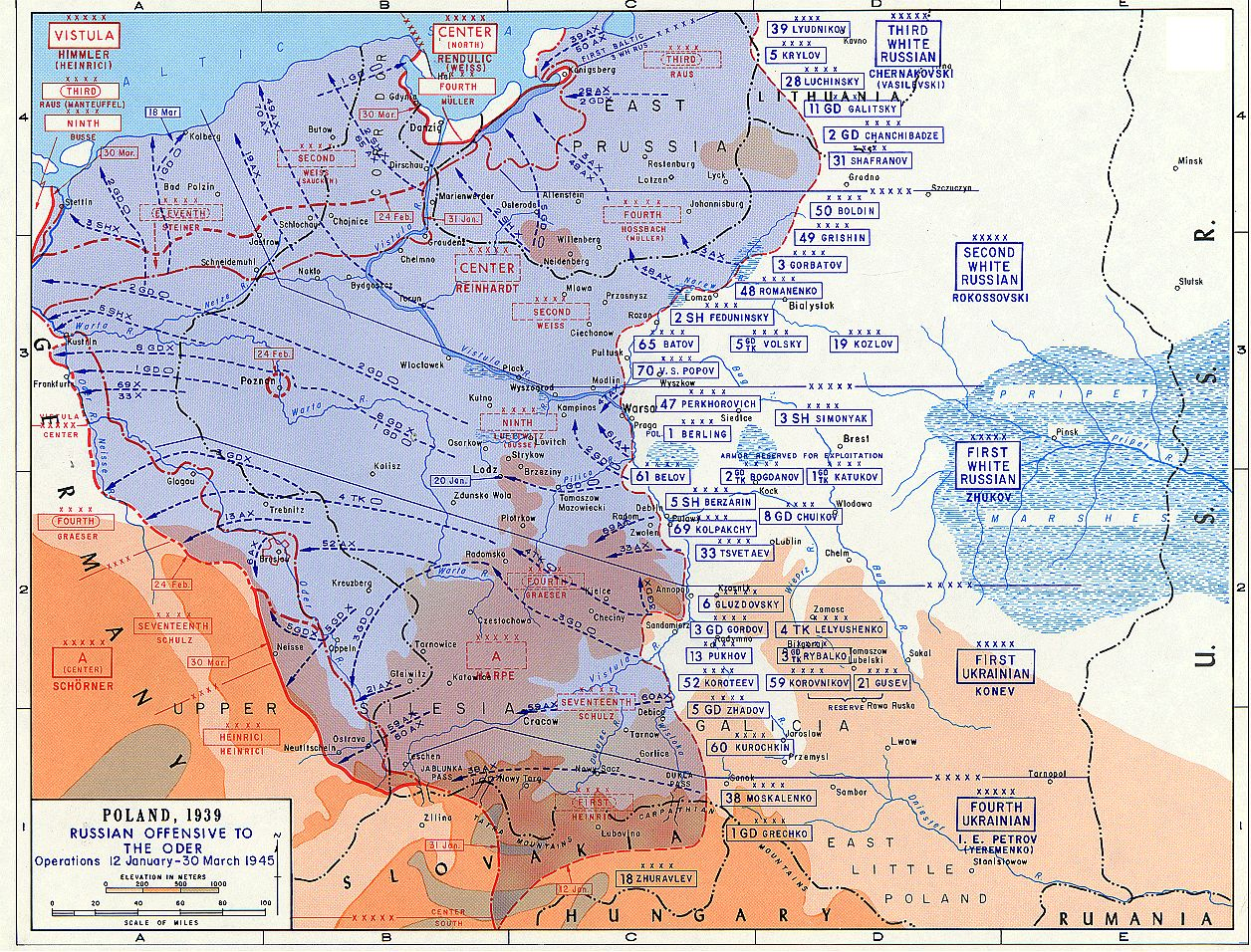 map front     eastern front ww2 second world war two soviet russian offensives maps  jjanuary 12 march 30 1945