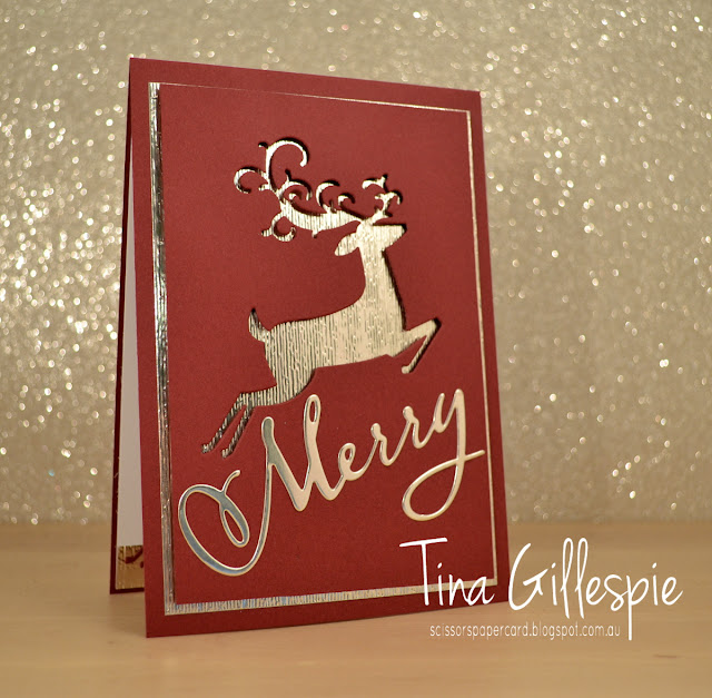 scissorspapercard, Stampin' Up!, Art With Heart, Heart Of Christmas, Detailed Deer Thinlits, Merry Christmas Thinlits, Subtle DTIEF, Merry Christmas To All