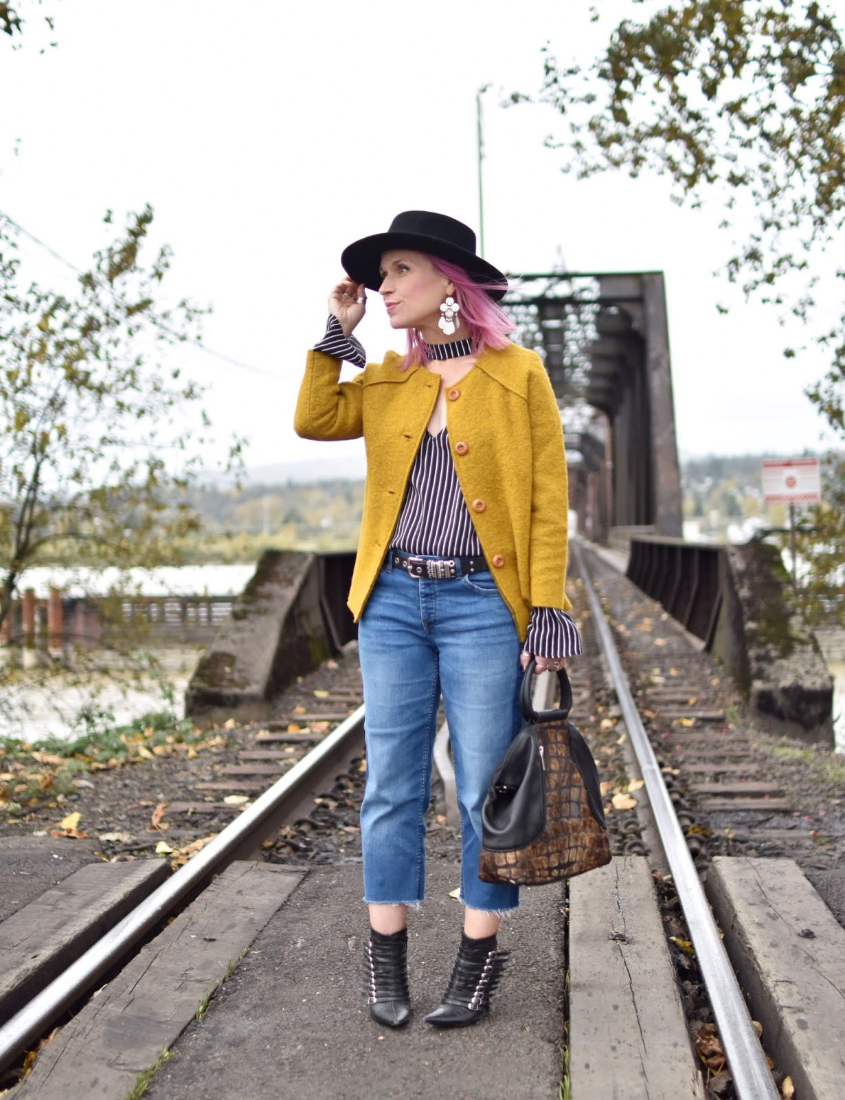 Monika Faulkner outfit inspiration - mustard wool jacket, striped blouse, cropped jeans, stiletto booties, flat-top felt fedora
