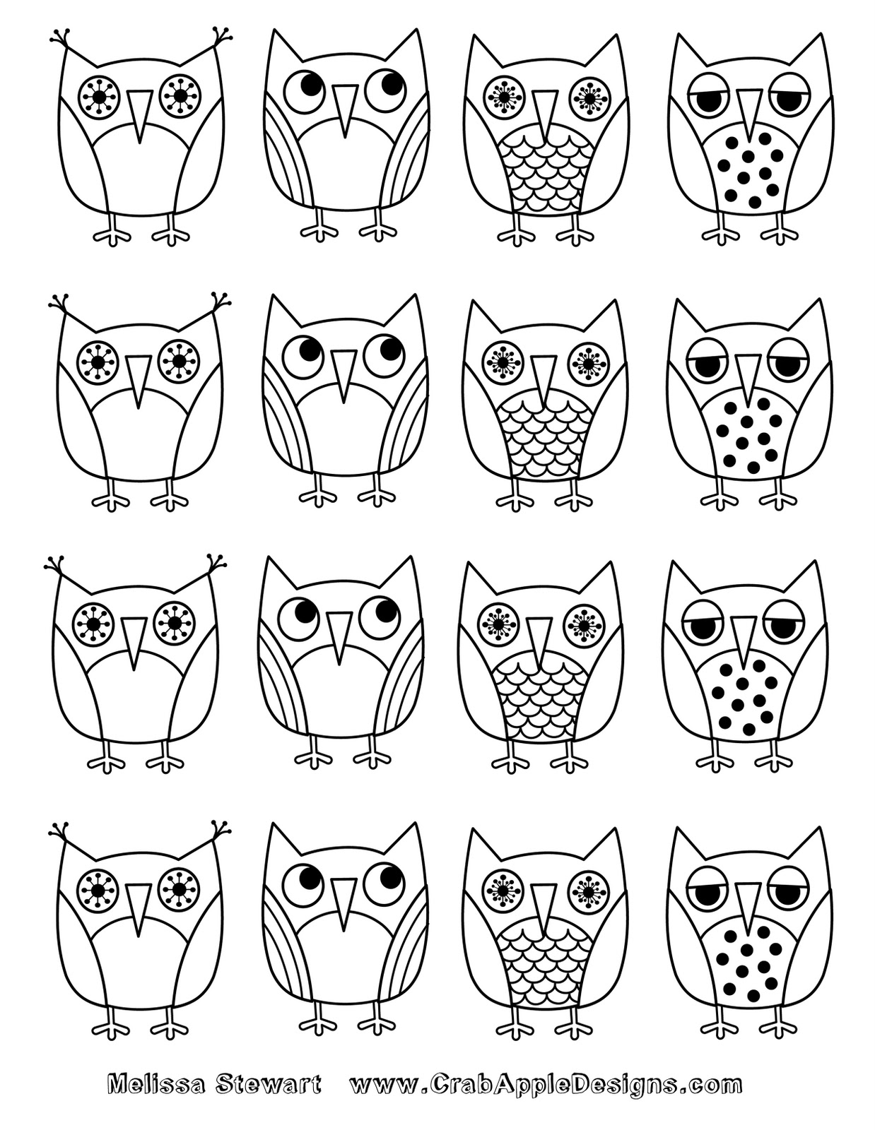 At Home With Crab Apple Designs: Owls Coloring Page: Day 7