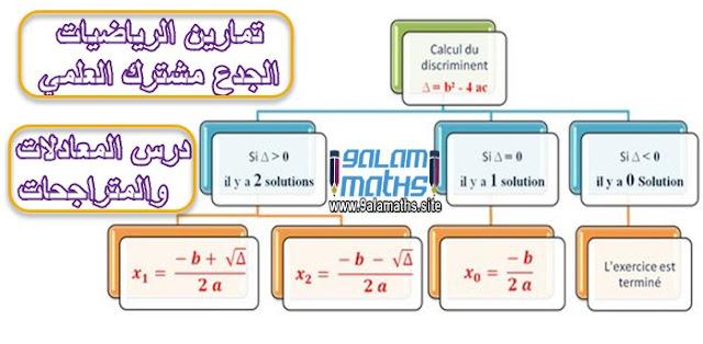 تمارين مصححة درس المعادلات والمتراجحات الجدع مشترك العلمي
