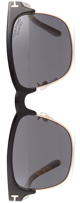 TOM FORD Shiny Metal Half-Rim Polarized Sunglasses, Black/Smoke