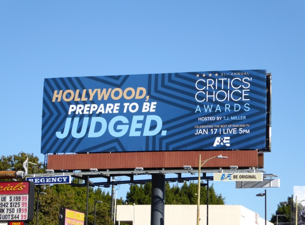 Hollywood prepare to be judged Critics Choice Awards teaser billboard