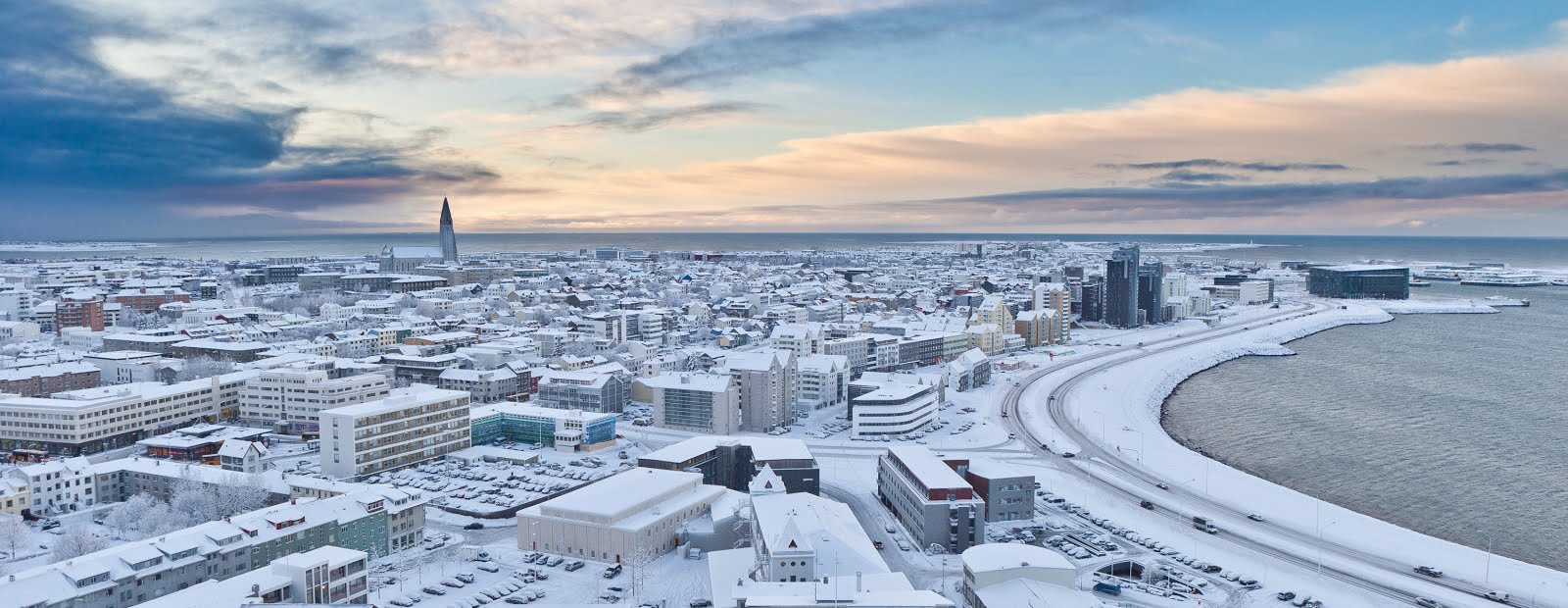 Snow covered white Reykjavik
