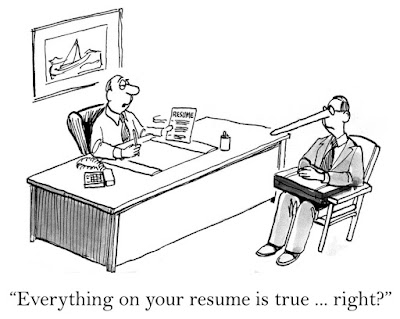 "The cartoon interviewer asks, ""Everything on your resume is true, right?"" of the man whose nose grows longer"