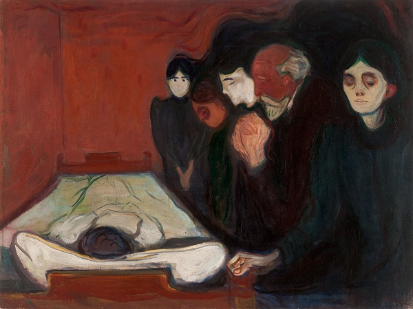 "Edvard Munch, ""At the Deathbed"", 1895 | imagenes obras de arte tristes, bellas, pinturas, cuadros, art pictures inspiration, cool stuff."