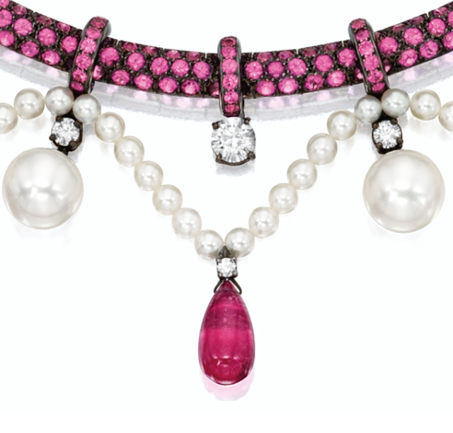 Pink sapphire, pink tourmaline, pearl, and diamond necklace. By Boucheron.