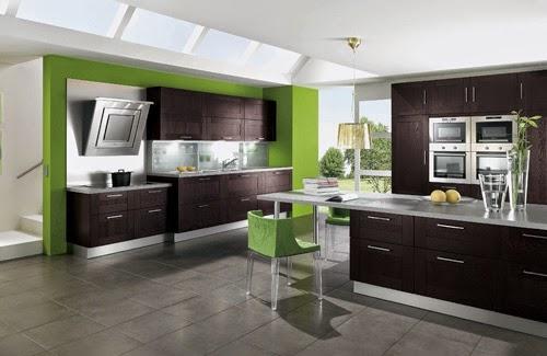 Cocina color verde marrón