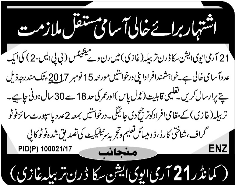 Jobs In  21 Army Aviation Tarbela Ghazi Oct 2017