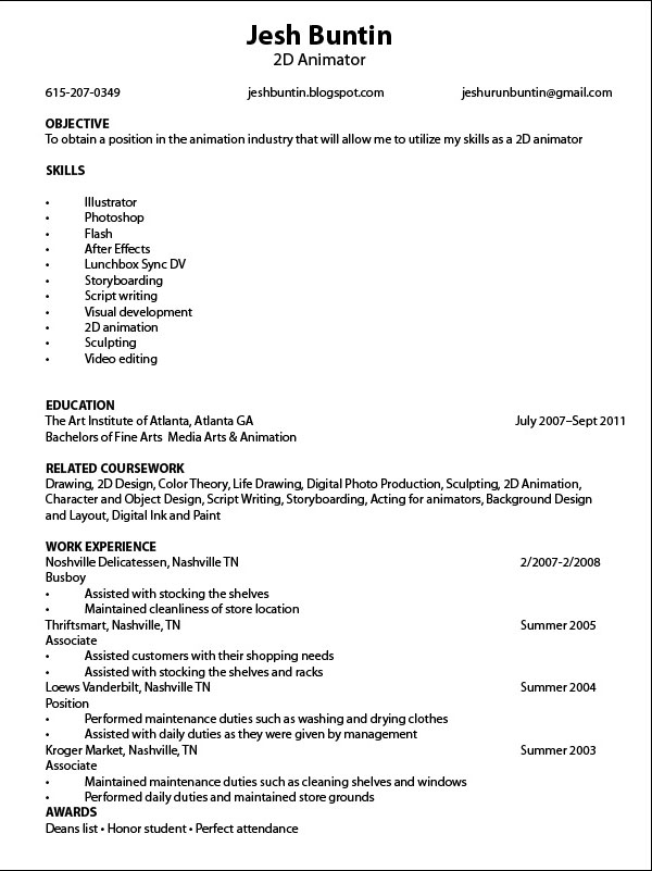 Sample resume for animators