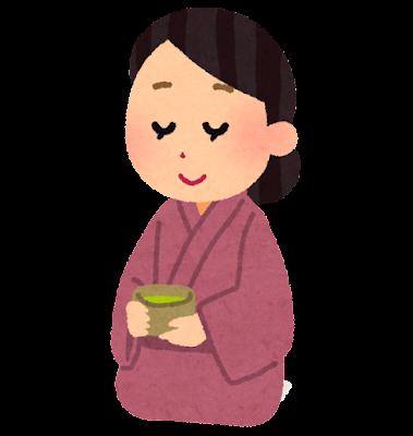お茶を飲む女性のイラスト(座布団なし)