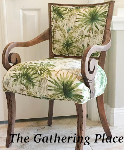 Chair Upholstered in Tommy Bahama Green Leaf Fabric