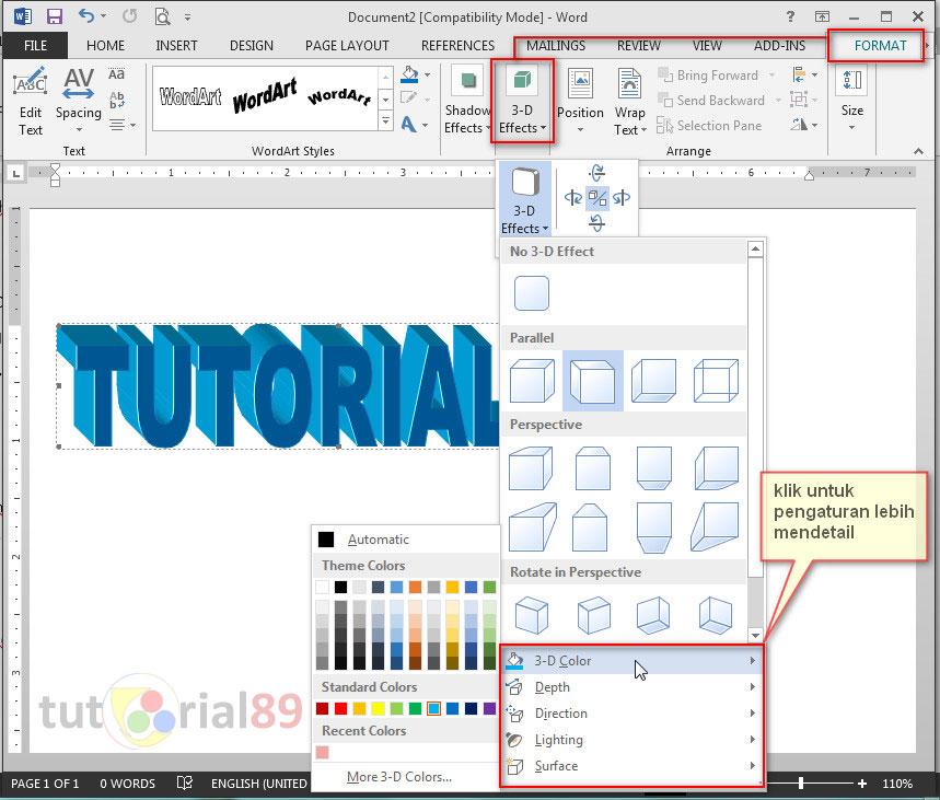 Cara mudah membuat tulisan 3 dimensi di Microsoft word