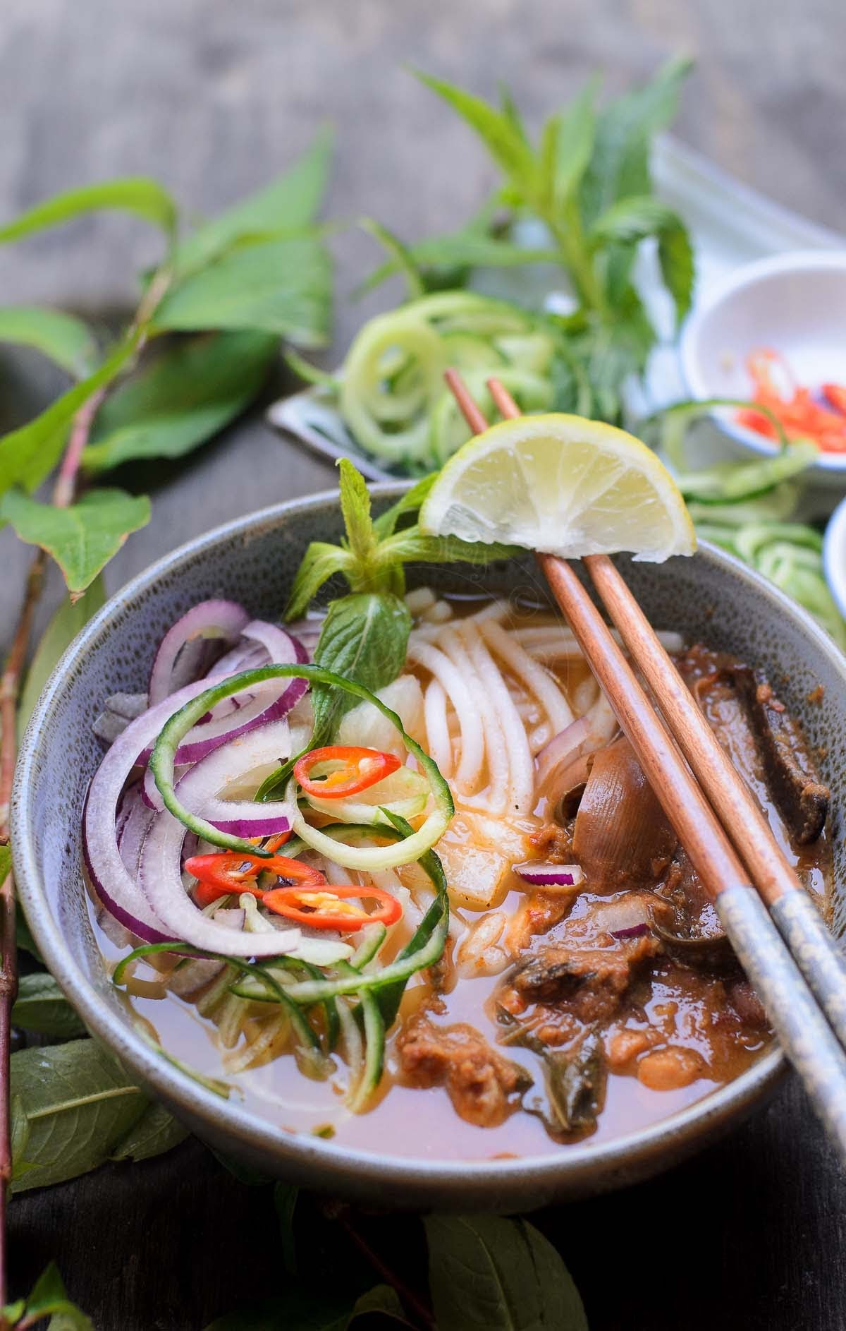 Asian fish soup noodles