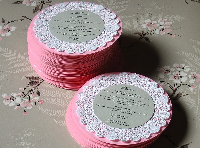 menu de casamento Doilies de papel