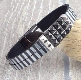 Tutoriel bracelet cuir homme gris et argent fermoir gun métal