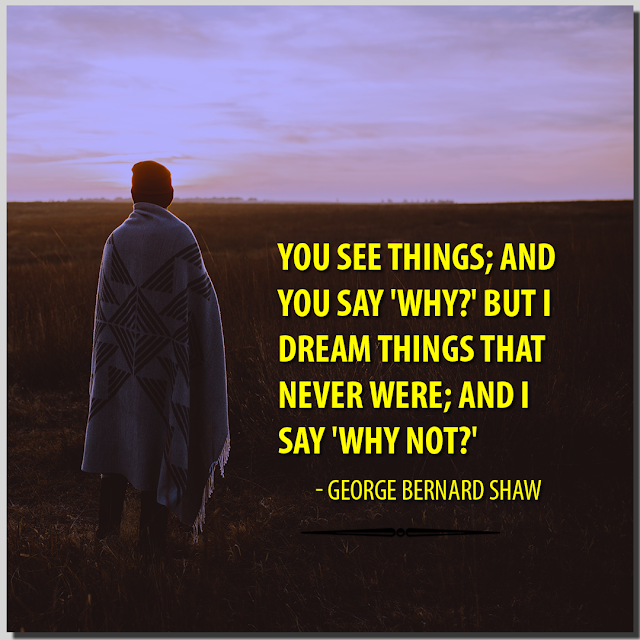 You see things; and you say 'Why?' But I dream things that never were; and I say 'Why not?' George Bernard Shaw HBR PATEL